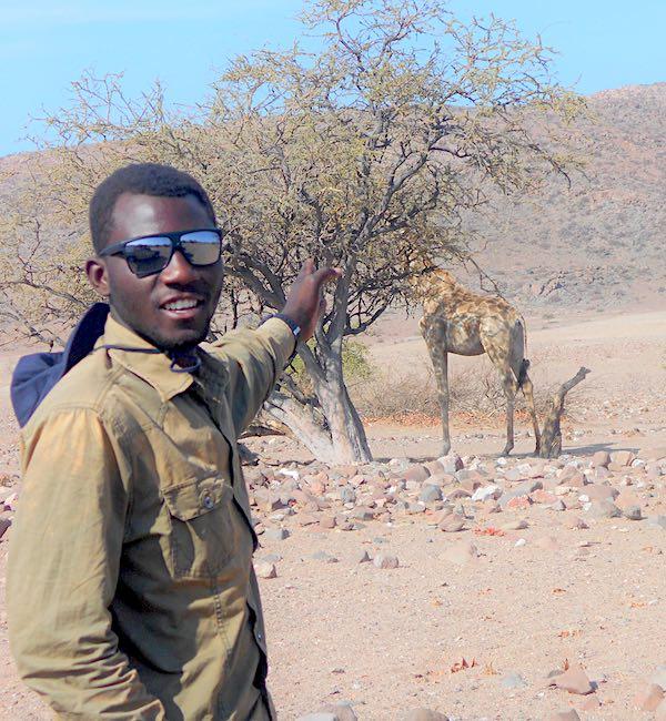 A man points to a giraffe behind a tree.