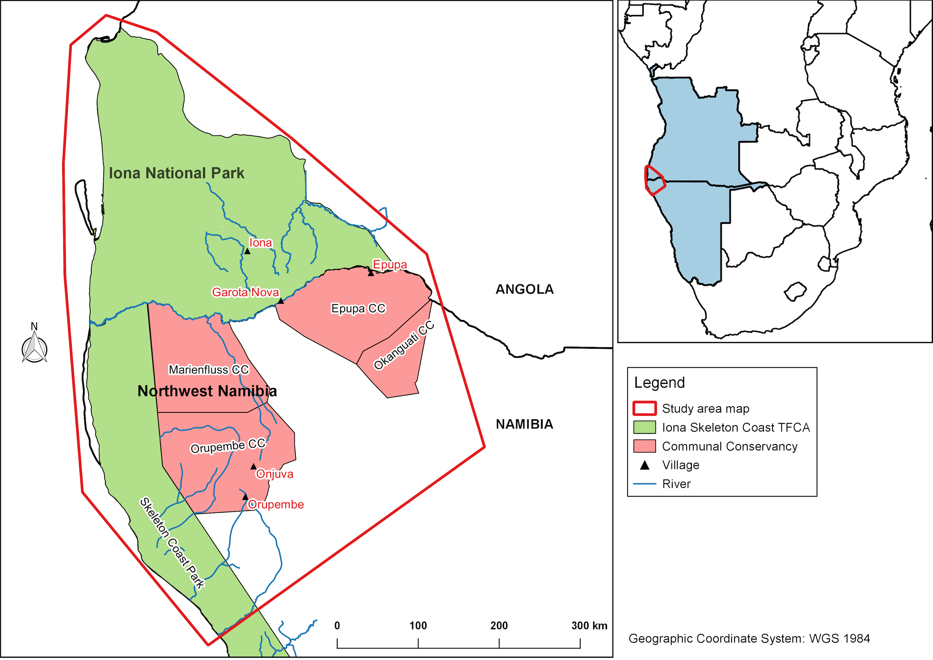 A map of the study area in the NW of Namibia and SW of Angola.
