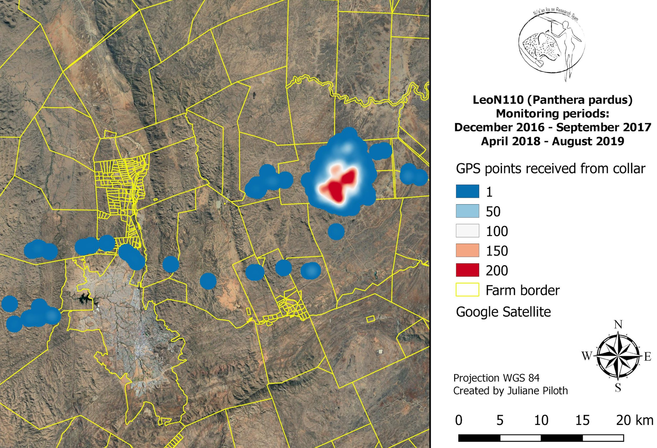 A map showing tracking data from a satellite collared leopard in Namibia.