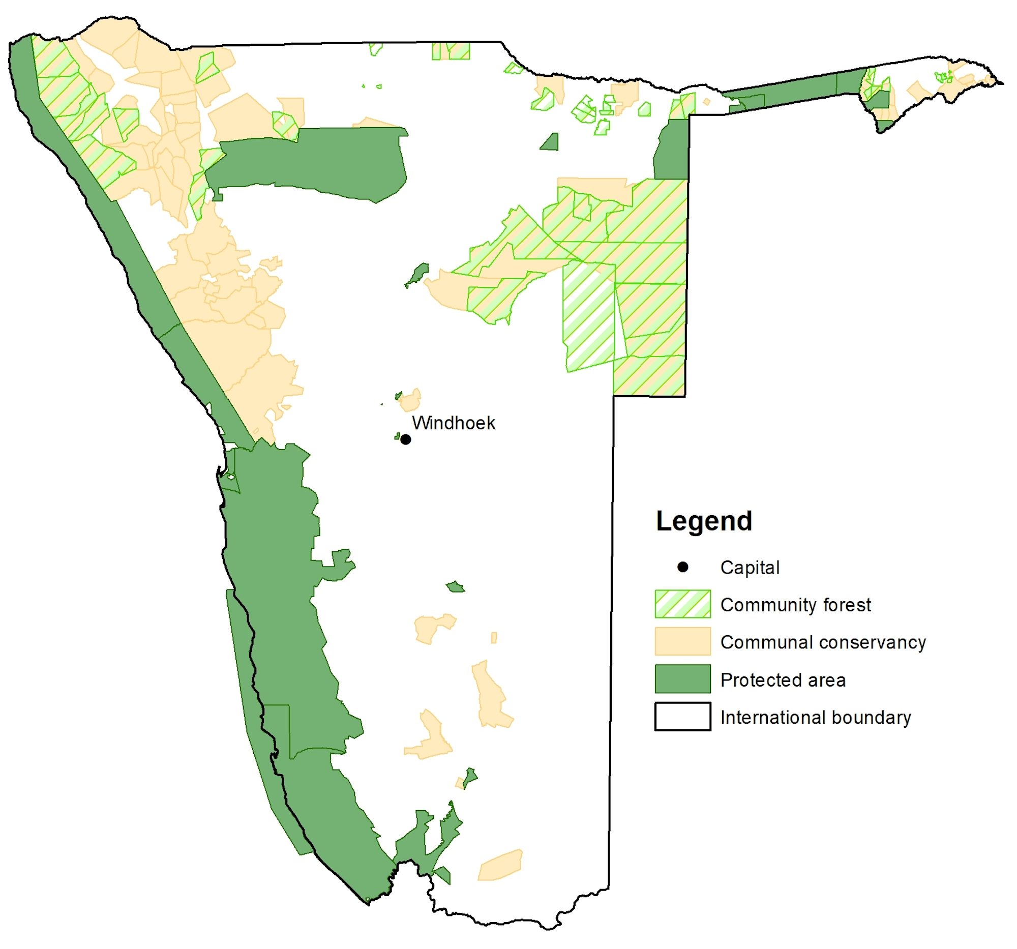 A map showing the community forests in Namibia..