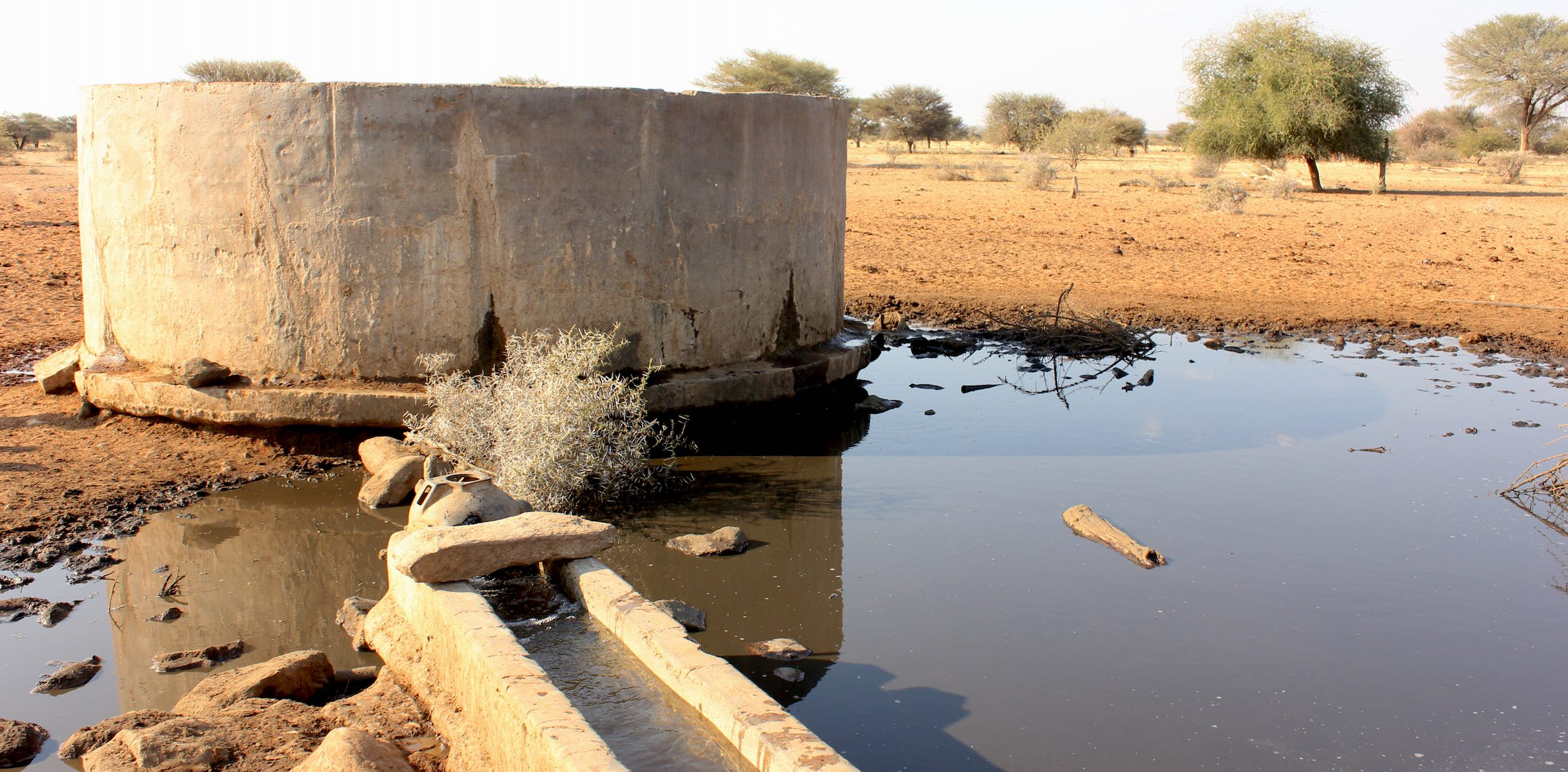 A water reservoir damaged by an elephant.