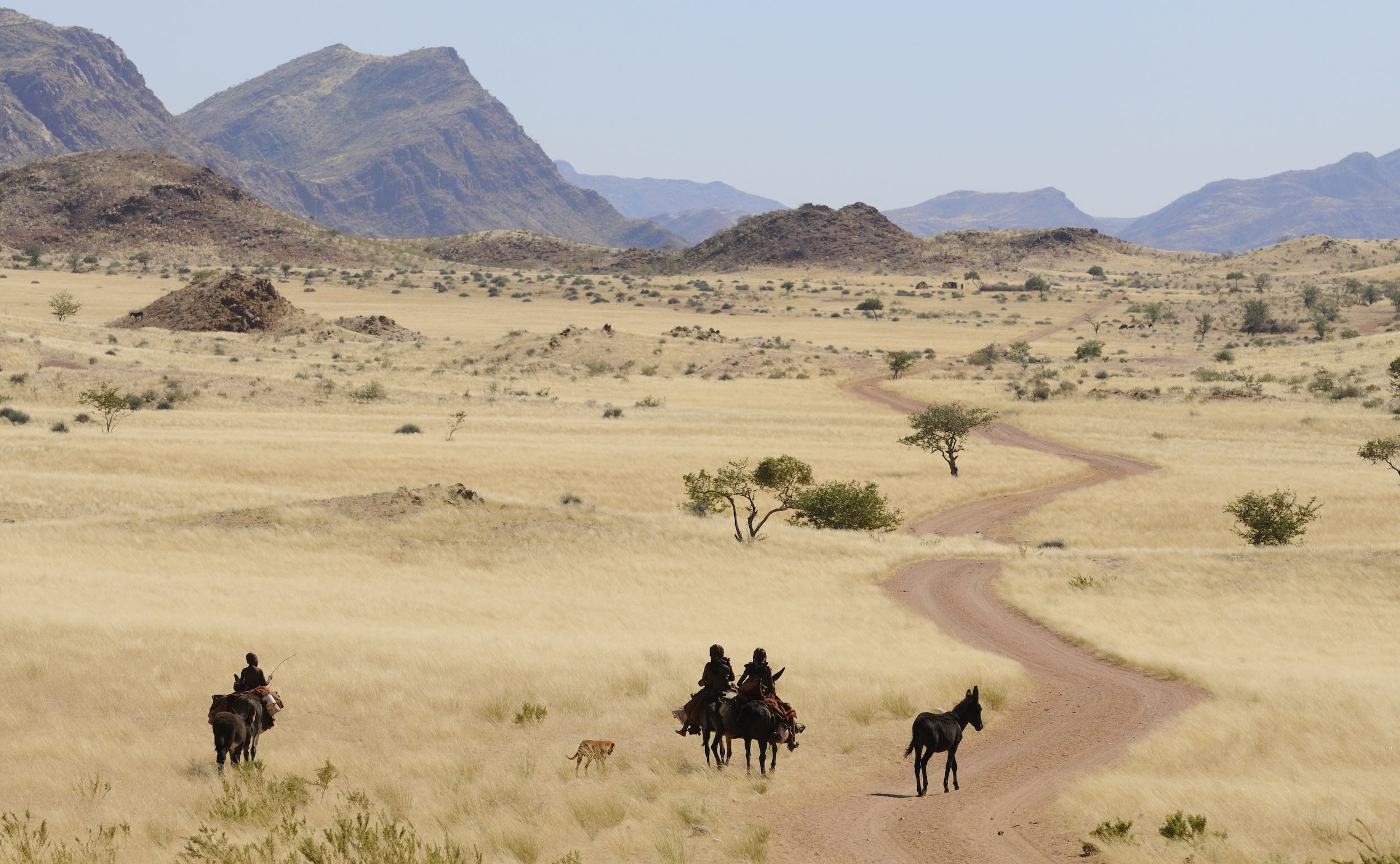Local people riding through stunning Namibian scenary.